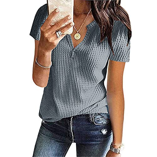UOCUFY Damen Bluse Kurzarm Tshirt Oberteile V-Neck Sommershirt Mode Lose blusen Waffel Strick Elegante Hemdbluse T-Shirt S-2XL