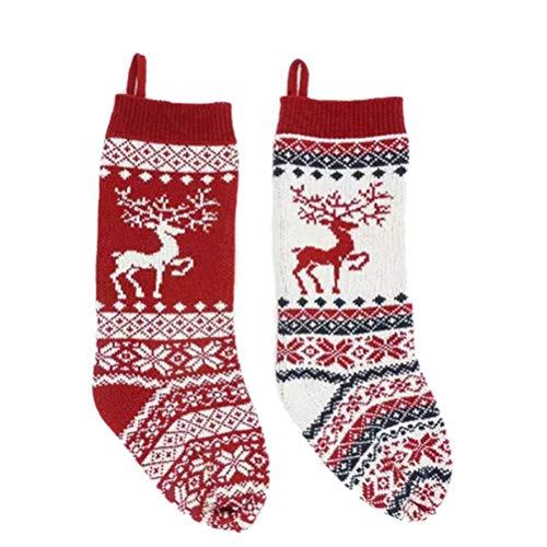 VOSAREA Weihnachtsstrumpf Nikolausstrumpf Weihnachtssocke Nikolausstiefel zum Befüllen und Aufhängen Weihnachts Süßigkeitstasche Geschenktüte Kamin Weihnachtsbaum Dekoration