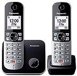 Panasonic KX-TG6852 Teléfono Fijo Inalámbrico Dúo con Contestador Automático (Monitor de Bebes; Bloqueador de Llamadas; Modo No Molestar; Baja Radiación; Modo Eco) Negro