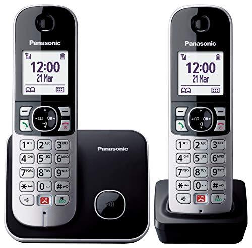 Panasonic KX-TG6852 Teléfono Fijo Inalámbrico Dúo con Manos Libres (Monitor de Bebes, Bloqueador de Llamadas, Modo No Molestar, Baja Radiación, Modo Eco) Plateado