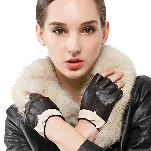 Nappaglo Women's Fingerless Leather Gloves Nappa Leather Half Finger Fitness Outdoor Driving Motorcycle Gloves (M (Palm Girth:7'-7.5'), Black)