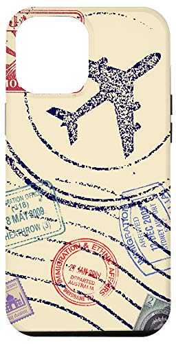 iPhone 12 Pro Max Vintage Style Passport Stamps Travel Accessory by Tighe Case