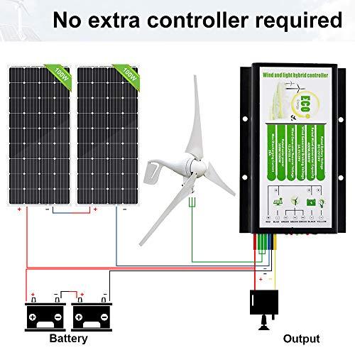 ECO-WORTHY 24 Volts 600 Watts Wind Solar Power System: 1pc 400W Wind Turbine Generator + 2pcs 100W Monocrystalline Solar Panel with Hybrid Charge Controller