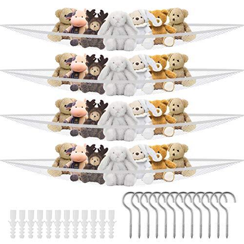 Xinzistar 4 Pack Toy Hammock Toys Holder Net, Toys Organizer Toy Storage Mesh Holder with Hooks, Toy Storage Hammock for Stuffed Animals, Cuddly Toys