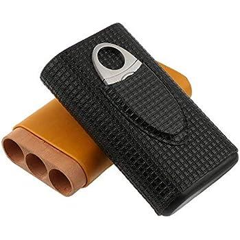 Portasigari con la capacità di 3 sigari e coltello sigaro in acciaio inox. Portasigari da viaggio bicolore in pelle rivestita in rilievo di legno di cedro portatile.