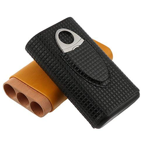 BONSYL Zigarrentasche aus Leder, DREI Stück Zigarren passen in die Tasche, Zigarrenschneider aus Edelstahl inkl.Tragbare Reise-Zigarrentasche aus Leder mit Zedernholz-Innenfutter.