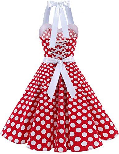 Dresstells Vintage 1950s Rockabilly Polka Dots Audrey Dress Retro Cocktail Dress White Dot L