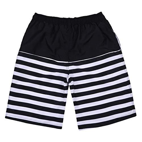 Yowablo Badehose für Herren Badeshorts Beachshorts Boardshorts Schwimmhose Individueller schwarz-weiß gestreifter gemalter lässiger Druck (4XL,11Schwarz)