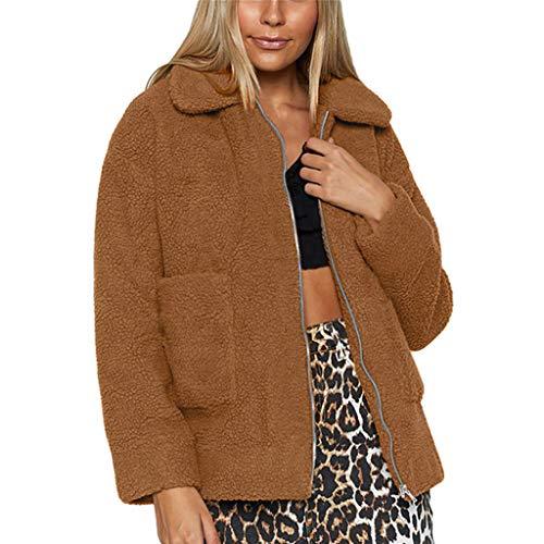 BIKETAFUWY Wintermantel Damen Freizeitjacke Winter Warm Parka Oberbekleidung Damen Mantel Plüschpullover Teddy-Fleece Frau Revers Faux Wolle Outwear...