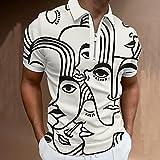 wsxcfyjh Camisa T-Shirt Camisa De Manga Corta A Cuadros para Hombre Moda Streetwear Cuello Vuelto Transpirable Cremallera Tops-Pls-6_L