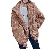 Forthery Women's Warm Winter Coat Faux Fur Jacket Outwear (M, Khaki)
