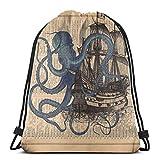 Yuanmeiju Ocean Octopus Nautical Boat Pirate Flag 3D Print Drawstring Backpack Rucksack Shoulder Bags Bolsa de Gimnasio For Adult 17'X14'