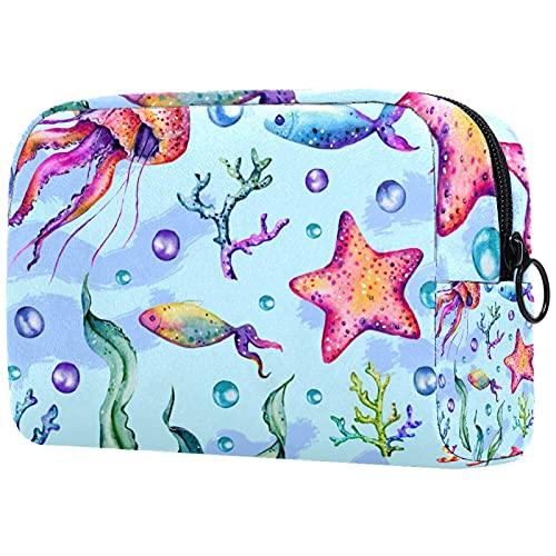 FURINKAZAN Pintado Coral Medusa Estrella de mar Algas de viaje Bolsa de maquillaje para artículos de tocador Bolsa de maquillaje Bolsa de hombres y mujeres