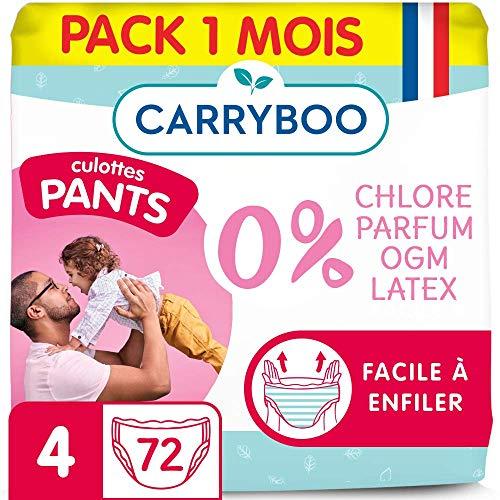 Carryboo - 72 Culottes d'Apprentissage Ecologiques Taille 4 (8 - 15kg) - Hypoallergéniques, Sans Parfum - Fabriquées en France - Pack 1 Mois