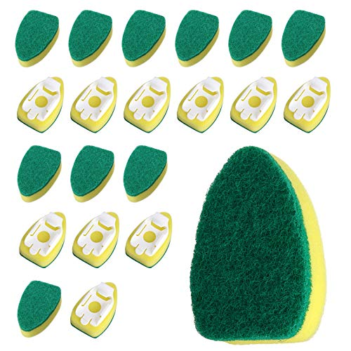 Dishwashing Wand Sponge-LIUMY, Kitchen Scrubber Sponge with 20 Refill Heads, Estropajo,Household Cleaning Sponges for Washing Bowl, Pot, and Sink
