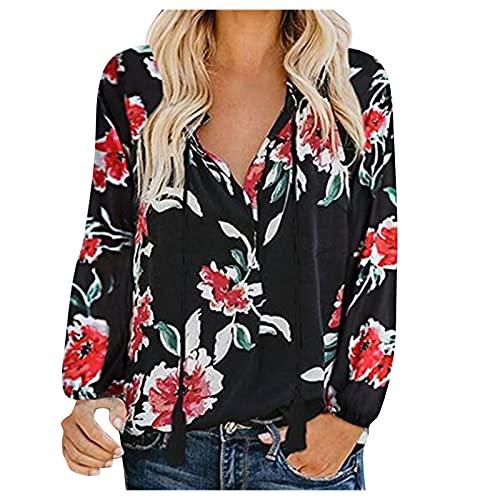 Julhold Blusa para mujer camisas otoñales con estampado floral fruncido plisado suelto para mujer con cordones, Negro, M