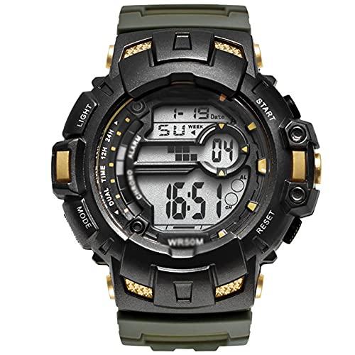 WTYU Relojes Pulsera, FRESE Big DIAL, Muestra Digital De Múltiples Funciones Al Aire Libre Masculino Y Reloj Electrónico, con Correa Luminosa, TPU E