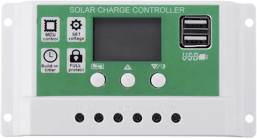 Kit de Paneles solares, Panel LCD Controlador de Carga Solar Adaptador de Cargador de batería automático Dual USB 10/20 / 30A 12V 24V (Current: : 30A)