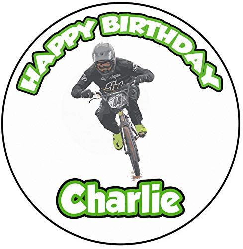 AK Giftshop Décoration de gâteau d'anniversaire personnalisée sur le thème du vélo BMX – Cercle de 20 cm
