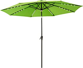 FLAME&SHADE 10' Lighted Outdoor Patio Market Umbrella with Solar LED Lights and Tilting for Outside Table or Large Deck, Apple Green