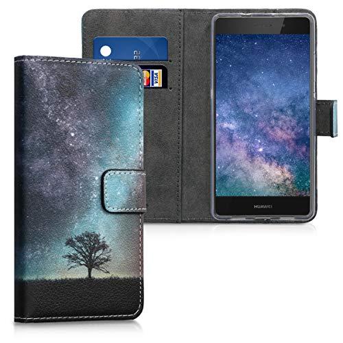 kwmobile Hülle kompatibel mit Huawei P8 Lite (2015) - Kunstleder Wallet Case mit Kartenfächern Stand Galaxie Baum Wiese Blau Grau Schwarz