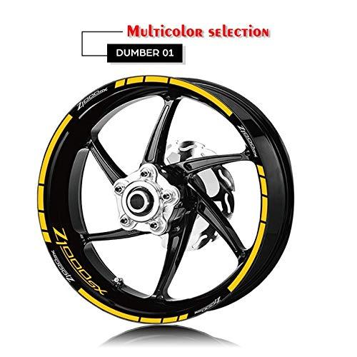 Anhuidsb Motorrad-Reifen und Felge Reflective Dekorative Aufkleber Kombination Räder Aufkleber-Set for Kawasaki Z1000SX mit Logo (Color : XT LQ Z1000SX YLW)