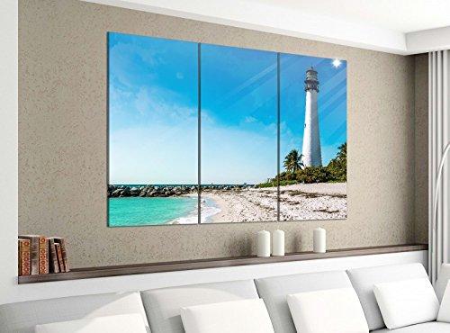 Acrylglasbilder 3 Teilig 120x100cm Cape Florida Leuchtturm Turm Meer Wasser Strand Druck Acrylbild Acrylglas Acrylbilder Wand Bild 14E1064, Acrylgröße 8:gesamt 120x100cm