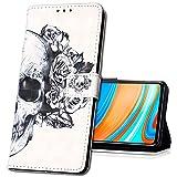 MRSTER Funda para Samsung Galaxy S21, 3D Moda Carcasa Libro Flip Case Antigolpes Cartera PU Cuero Funda con Función de Soporte para Samsung Galaxy S21. YB Skull Flower