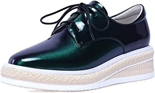 Women's Casual Shoes Spring 2019 Patent Leather Shoes Fashion Wedge Heel Low Shoes Patent Leather Platform Shoes Green,A,35