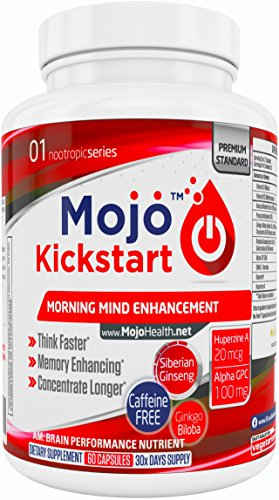 MOJO™ Kickstart - Nootropic Brain Support Supplement | Memory, Focus, Clarity and Concentration Support | Alpha GPC | Huperzine A | Ginkgo Biloba | Bacopa | Ginseng + Money Back Guarantee (Reason For Being Late That Starts With A)