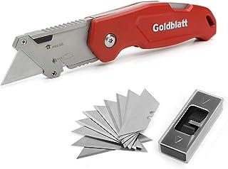 Goldblatt Folding Utility Knife, Quick Change Blade Mechanism Aluminum Alloy Handle, with 10-piece Extra Blades, Pocket Size (G08210)