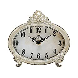 NIKKY HOME Vintage Table Clock, Battery Operated Rustic Design, Chic Home Décor for Fireplace Mantel, Shelf, Desktop, Countertop - Distressed White