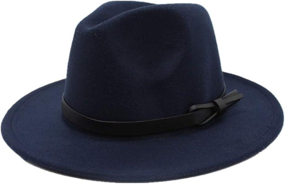 L.W.SUSL Men Women Wool Fedora Hat Autumn Cloche Hat for Elegant Lady Wide Brim Fascinator Hat Jazz Hat Size 56-58CM (Color : Drak Blue, Size : 56-58)