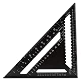 W SXHTKJIN Triangular Measuring Ruler, 12-Inch Metric Aluminum Alloy Woodwork Speed Square Triangle Angle Protractor Measuring Drawing Tool