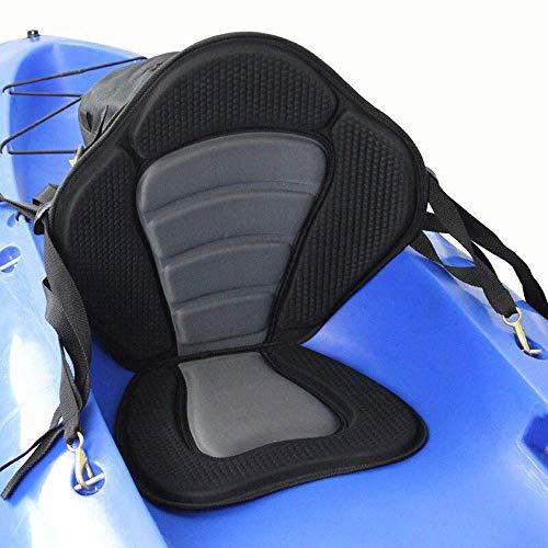 Elikliv Kayak Soft Seat Cushion Pad, Deluxe Padded Kayak Boat Seat Rowing Boat Padded Base High Adjustable Kayak Cushion with Backrest