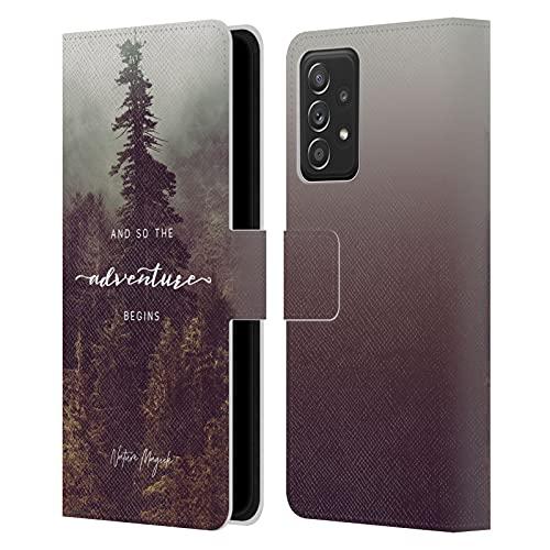 Head Case Designs Licenciado Oficialmente Nature Magick Bosque Así Que la Aventura Comienza Cita Carcasa de Cuero Tipo Libro Compatible con Galaxy A52 / A52s / 5G (2021)