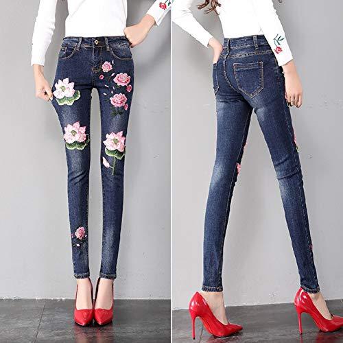 KBCJUA Weinlese-Jeans-Frauen-Mode gestickte Lotus-Loch-Denim-Hosen-Mädchen-Kursteilnehmer-Blaue dünne Jeans-Hosen-Ausstattung