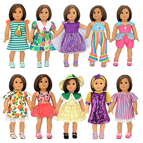 """XADP 10 Sets 18"""" Doll Clothes Outfits Gift for American Girl Doll Clothes and Accessories, and Other 18"""" Dolls"""