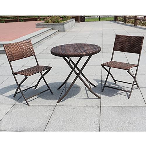 Kombination aus Tisch und Stuhl im Freien Café Außenbalkon Innenhof Garten Rattan Kombination Tisch und Stuhl im Freien, klappbarer Rattanstuhl, rostfrei und wetterfest