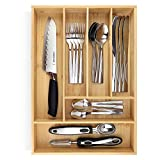 PRISTINE BAMBOO 17x11.8 inch Non-Slip, Extra Deep Silverware Organizer, Utensil Organizer, Silverware tray, Kitchen Drawer Organizer for Flatware Cutlery, Bamboo Wood Silverware Holder