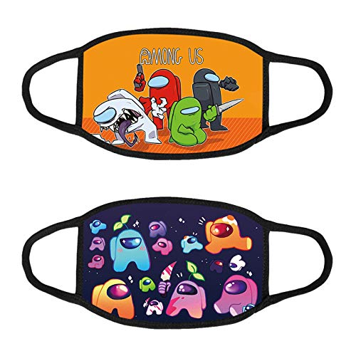 2 Pcs Among Us Balaclava Bandanas Face Scarf Reusable Protection Anti Dust Cloth Gifts for Kids Boys Girls Children