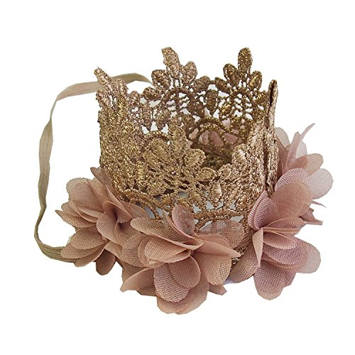 Baby Flower Lace Crown Headband Gold