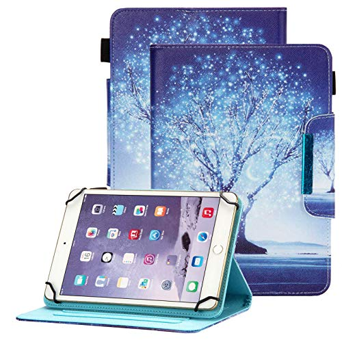 Popbag Universal Case for 10-10.5 Tablet, Card Holder Stand Case for Galaxy Tab A 10.1 T510 T580 P580/ Tab A7 10.4'/ Tab M10 Plus 10.3'/ Tab S6 Lite 10.4 P610/ Android Tablet 10.1', Dream White Tree