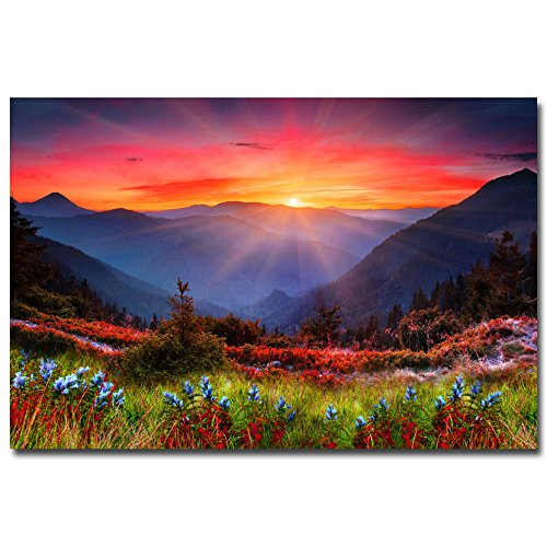 Sunset Mountains Flowers Art Silk Poster Landscape Picture Wall Decoration Home Decor (24x36inches)