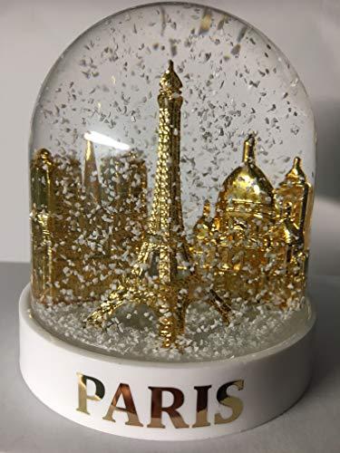 Vianaya Schneekugel Eiffelturm und andere Denkmaler von Paris – mittlere Größe 10 cm – Sockel weiß aus hochwertigem Kunststoff – Kugel mit goldenen Denkmaler – klassischer weißer Schnee