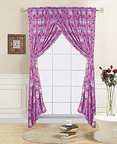 Purple Background Owl Curtain