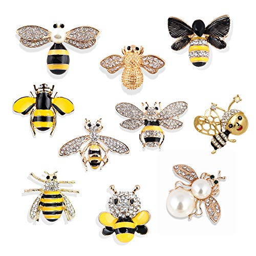 Apol Set of 10 Fashion Enamel Crystal Rhinestones Bee Themed Brooch Pin Jewelry Lapel Pins for Clothes Collar Dress Scarf Bag Decoration
