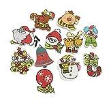 DZCGTP 100 Piezas de Botones de Navidad de Madera Botones artesanales de Costura Mini árbol de Navidad muñeco de Nieve Santa Claus Adornos de Renos patrón Mixto