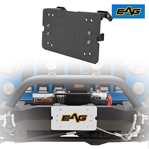 EAG Flip-Up Winch Roller Fairlead 8 3/4 inch Mount License Plate Holder Bracket