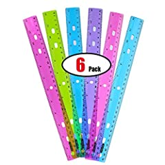 Includes 6 Rulers that with dual side rulers for Inches and Metric to 12 inches or 30 centimetre. Made of hard plastic Assorted jeweltone colors with pink, purple, green, and blue. With hang up hole and holes for three-ring binders. Suitable for all ...